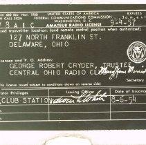 Image of George Cryder Amateur Radio Licence -