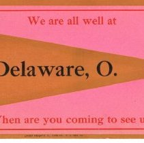 Image of Greetings Post card from Delaware, Ohio