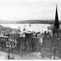 Image of 1913 Great Flood bird eye view of the Saint John's Lutheran Church and adjacent houses - Mar - Apr