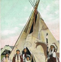 Image of Indian Chief and Family in front of their tent