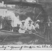 Image of Six ladies and a boatsman - Waterford, Pennsylvania