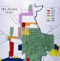 Image of Delaware Map showing the growth from 1808 to 1929 - Delaware -