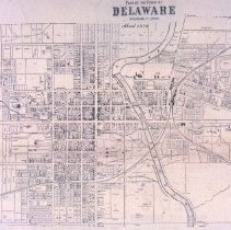 Image of Delaware Map showing the Town of Delaware in 1858
