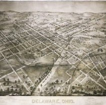 Image of Delaware Map showing the Town of Delaware in 1872 -