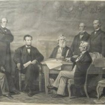 Image of Emancipation proclamation, Lincoln and cabinet