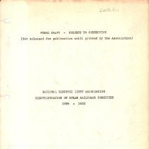 Image of Book Report of Subcommittee for the Study of The Electrification of Western Railroads, by the National Electric Light Association 1929-1930. Covers the Great Northenr Railway and other roads.  114 page.  This is a Final Draft copy.  Donated by Bob Kelly  - Book