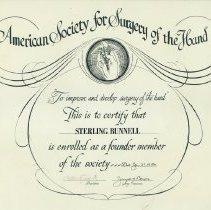 Image of Bunnell's ASSH Founder Member Certificate