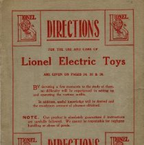 Image of Lionel Manufacturing Company Catalog 1912 - Lionel 1912 consumer catalog.  Standard gauge trains and trolleys, freight and passenger cars, accessories, New Departure motors. Also, directions for the use and care of Lionel toy trains.