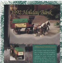 Image of 1992 Holiday Bank - 1992 Ertl flyer featuring holiday gift bank of horse and wagon.