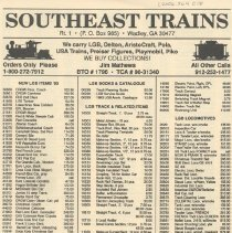 Image of Southeast Trains Price List - Price list  for LGB trains at Southeast Trains hobby shop.