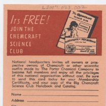 Image of Joing the Chemcraft Science Club - Order form for Chemcraft Science Club.  Contained in packet of Lionel 1956 dealer material