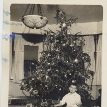 Image of Boy Sits on Floor at Christmas with Ice Skates and Train Set - 1 of 2 photos.  Young boy sits on floor holding ice skates.  Beside him are a standard gauge train set and teepees. Christmas tree in background.