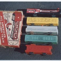 Image of All American Streamlined Train Set by Miller & Gray Co. - Photo of All American Streamlined Train.  1940s era train set made by Miller & Gray co.  Steam freight set.  Paper lithographed wooden set.