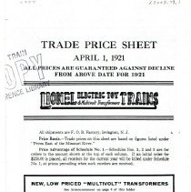 Image of Lionel Trade Price Sheet 4/1921 - Lionel Corporation Trade Price Sheet. April 1, 1921.   O and Standard gauge trains and accessories.