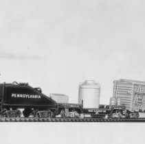 "Image of American Flyer HO ""The Hotshot"" freight set - American Flyer HO train set wiht Pennsylvania 0-6-0 steam switcher 31004, track cleaning car, peabody hopper car, multipurpose flat car, hay-jector box car and tie-jector car.  Included in the set but not shown in the picture was a power pack and track.  Catalog # 30720.