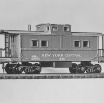 Image of American Flyer HO New York Central caboose - American Flyer HO NYC caboose with interior lighting.  Catalog #33516.  This is an A. C. Gilbert catalog photograph.  List price of the item shown was $4.50  in 1961.