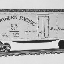 Image of American Flyer HO Northern Pacific reefer - American Flyer HO Northern Pacific reefer, Catalog #33521.  This is an A. C. Gilbert catalog photograph.  List price of the item shown was $3.25 in 1958.