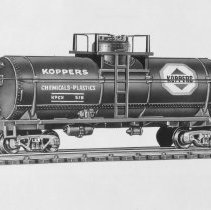 Image of American Flyer HO Koppers tank car - American Flyer HO Koppers chemical single dome tank car with platform, catalog # 33518.