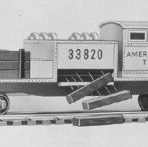 Image of American Flyer HO Automatic Tie-jector car - American Flyer HO Automatic Tie-jector car, catalog # 33818.  This is an A. C. Gilbert catalog photograph.  List price of the item shown was $4.98  in 1961.