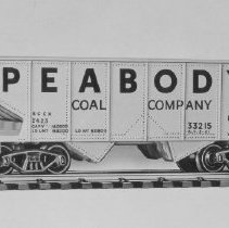 Image of American Flyer HO Peabody hopper car - American Flyer HO Peabody Coal Company hopper car, no load included, catalog # 33215.  This is an A. C. Gilbert catalog photograph.  List price of the item shown was $2.50  in 1963.