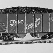 Image of American Flyer HO CB&Q hopper car - American Flyer HO CB&Q hopper car with coal load, catalog # 33501.  This is an A. C. Gilbert catalog photograph.  List price of the item shown was $2.95  in 1957.