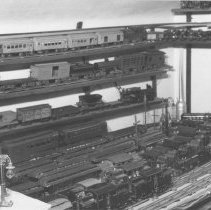 Image of Prewar Trains - Photo from Harry Albrecht collection.  Prewar trains on shelf and 