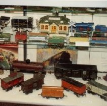 Image of Train Display - Photo from Harry Albrecht collection of prewar trains.  Train display.  Two photos  taped together.  Snapshots.