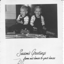 Image of Twin Boys with Passenger Train Set - Season's Greetings from Our House to Your House.  Twin boys 