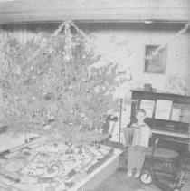 Image of Boy with Accordian Beside Christmas Toy Train Layout - Photo negative of young boy holding an accordian beside a toy 