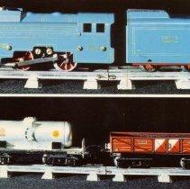"Image of European Trains - European postcard showing for O gauge items GILS BELGIQUE-BELGIE prox. 1950:  Loco 020 no. 0151, Electeique 24 V;  Wagon Citerne; Wagon ""Balast""."