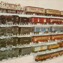 Image of Print from Lionel Collector's Guide - Print from McComas & Tuohy's  A COLLECTOR'S GUIDE AND HISTORY TO LIONEL TRAINS, Volume 1 Prewar O gauge.  Lionel-Ives 1929-1934.  Top row Ives 1616 passenger set (1932)  consisting of 1694 Electric locomotive, 1696 Baggage Car, 1695 Pullman & 1697 Observaton Car.  Second row 5016E passenger set (1934-36) consisting of 262 Steam locomotive (set should have a 262E), 262T Tender, 1686 Baggage Car, 1685 Pullman & 1687 Observation Car.  Third row probably a promotional set consisting of a 249E Steam locomotive, 265W Tender, 1686 Baggage Car, 1685 Pullman & 1687 Observation Car.  Fourth row 6532E Passenger set consisting of a 249E Steam Locomotive, 265W Tender (set should have a 265T Tender), 1686 Baggage Car, 1685 Pullman & 1687 Observation Car.  Fifth row Uncataloged set consisting of a 249 Steam Locomotive, 265T tender, 1719 Box Car, 1717 Gondola & 1722 Caboose.  Bottom row is a 1611 set shown on page 9 of the 1932 Ives catalog, consisting of a 1651 Electric Locomotive, two 1690 Pullman Cars & a 1691 Observation Car.