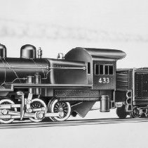 Image of American Flyer HO Pennsylvania Switcher - Catalog No. 31004, road number 433, American Flyer, Pennsylvania Railroad, 0-6-0 switcher.  the number 433 was used from 1955 to 1957, after that the road number was changed to the catalog number of 31004 until 1961, basicly the same item.  It had smoke and choo-choo sound but no lights.  This is an A. C. Gilbert catalog photograph.  List price of the item shown was $29.95 in 1955.