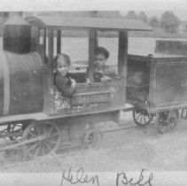 Image of Helen & Bill - Helen & Bill riding in the cab of an amusement park train along the shore of Lake Pohatcong near Tuckerton, NJ