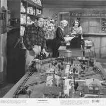 "Image of ""Roadblock"" Film Photo - A still picture from the movie ""Roadblock"".  An American Flyer Toy train layout in North Creek Post 