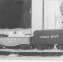 "Image of Lionel Scout  Set - Note on back of photograph  ""Second hand Lionel Scout set (Early type with metal loco)  Purchased at Corrs Fall of 1951.""