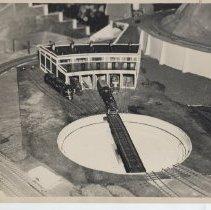Image of Roundhouse on Model Train Layout - Photograph of roundhouse on large model train layout.  1 of 2