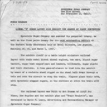 Image of Press release - Press release about their Lionel layout from Spreckels Sugar Company with a hand written note at the bottom and back.  Locations 1-7-14-01 to 1-7-19-02 contain pictures and information about the Lionel layout built for Spreckels Sugar Company by Art Truman in 1957 for display at the Western Candy Conference in Los Angeles, CA.  All items from 1-7-08-01 to 1-7-27-02 are photographs or data on Art Truman layouts.