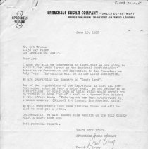 Image of Letter to Art Truman, from Spreckels Sugar Company - Letter to Art Truman, from Spreckels Sugar Company, regarding the display of the layout that he built for them at the San Francisco Convention.  Locations 1-7-14-01 to 1-7-19-02 contain pictures and information about the Lionel layout built for Spreckels Sugar Company by Art Truman in 1957 for display at the Western Candy Conference in Los Angeles, CA.  All items from 1-7-08-01 to 1-7-27-02 are photographs or data on Art Truman layouts.