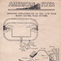 "Image of Operating Instructions for No. 720A -- 3/16"" Scale Remote Control Track Switches - American Flyer instruction sheet for operating the No. 720-A 3/16"" scale