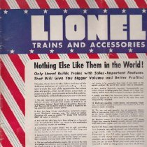 Image of Lionel Trains and Accessories - This folder includes Lionel O72 Trains, Lionel OO Gauge Train Outfits,  New O Gauge Dtailed Cars and  Accessories