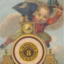 """Image of J&P Coats Spool Card - J&P Coats Best Six Spool Card.  """"We Beat Them All.""""  Needle and thread numbers."""