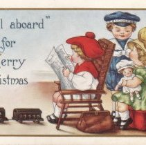 """Image of All Aboard for Merry Christmas - """"All Aboard for Merry Christmas.""""  Postcard with toy train and children with other toys."""