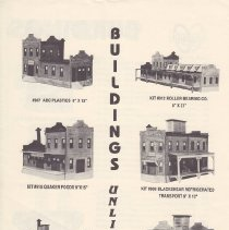 Image of Buildings Unlimited - This is a price list from Buildings Unlimited that has complete buildings, roundhouses, false fronts, kits also there is the Lionel Factory limited Edition
