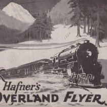 Image of Hafner's Overland Flyer - This folder consists of  No. 102 Locomotive and Tender and 2 cars,No. 602 Iron Engine and Tender and 2 5 inch Cars,  Baggage Car, Passenger Car, Accessories