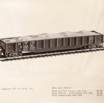 Image of Revell HO Gauge Catalog Pictures - Revell HO gauge Long Gondola. T4051 New York Central with load - 1.98 T4053 Chicago & Northwestern with load - $1.98 T4055 Pennsylvania with load - $1.98