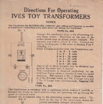 Image of Directions for operating Ives toy transformers - Instruction Sheet, Ives Toy Trains Instructions