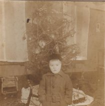 Image of I'm not going to smile! - A traditional Christmas floor layout with Ives #17 clockwork locomotive 1917/1925 and #11 tender lettered NYC & HR with coal load, other items are hidden by the toddler in the picture.