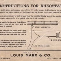 Image of Instruction Sheet for using A RHEOSTAT  - Instruction sheet on how to use a RHEOSTAT. the Rheostat can be used to increase or decrease speed of train on single track.
