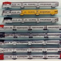 Image of Lionel Prewar Display -  #616E Flying Yankee variations, numbered from top to bottom.