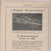 Image of A Wonderfield Backyard Railroad, The Backyard Railroad Contest for 1922 - Advertising Sheet, Playthings, American Flyer Mfg. Co.
